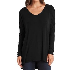Michael Stars Ribbed Long Sleeve V-Neck Top